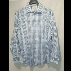 Thomas Pink Long Sleeve Button Blue Plaid Shirt 18